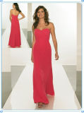 Strapless Hot Pink Chiffon Women Evening Dress