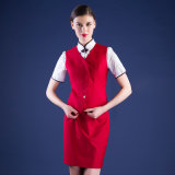 Formal Airline Stewardess Uniform Red Air Hostess Costume for Air Hostess Uniform