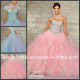 Tull Ball Gown Pink Blue Crystals 15 Y Ruffed Quinceanera Dresses Ld15210