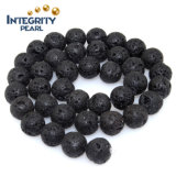 Wholesale High Quality DIY Bracelet Loose Beads Size 4 6 8 10 12 14mm Natural Black Lava Stone