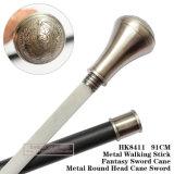 Metal Round Head Cane Sword Metal Walking Stick 91cm HK8411
