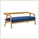 Home Legs Sectional Wood Covers Sofa with Lake Blue Cushion Cover