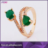 Rose Gold Plated Ring with Green Stones