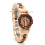 2017 New Fashion Two Tone Octagon Wood Watch for Women