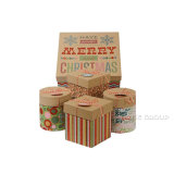 Christmas Gift Boxes Glitter Accents 1 Large 4 Small Round Square Bundles Set