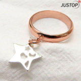 Fashion Hollow out Platinum Star Pendant Rose Gold Ring for Women