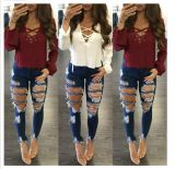 Fitness New Fashion Design Women Jeans Denim Skinny Jeans