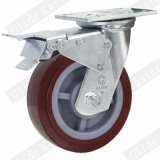 Heavy Duty PU Casters with Top Brake (Red) (Round Surface) (G4201)