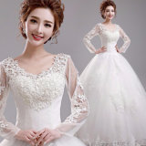 Full Sleeve Lace up Back Ball Gown Wedding Dress with Bow
