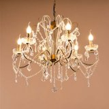 6-Lights Traditional Living Room Metal Crystal Ceiling Lamp Lighting Chandelier in Black, Dia560mm