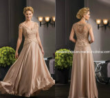Silk Evening Dress Brown Lace Customized Prom Dress W1719