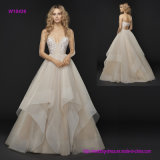 Low Keyhole Back Spaghetti Strap and Cascading Tulle Skirt with Horsehair Trim Wedding Dress