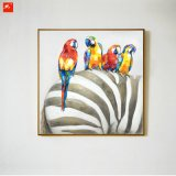 Parrots and Their Freinds Elephant Zebra Wall Art Painting