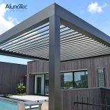 Sun Shade Aluminium Louvers Motorized Opening Roof System Waterproof Gazebo Pergola