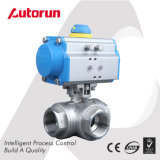 Stainless Steel Pneumatic 3 Way Ball Valve
