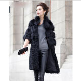 Ladies Fashion Genuine Real Fox Fur Coat Jacket & Lamb Fur Hem Half Sleeve
