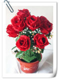 Nine Heads Red Artificial Rose Dmy-Ty-F8