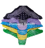 Customized Logo Printed Paisley Cotton UV Protection Bandana Cap