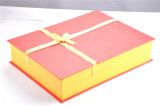 Golden+Red Art Paper Box/Gift Boxes/ Packaging Box with Gold Ribbon