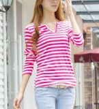 Ladies Long Sleeves Fashion Style V-Neck Striped T-Shirt 2016