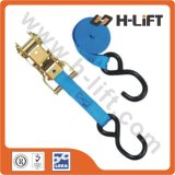 "1"" Cargo Lashing Ratchet Tie Down Strap with S Hook"