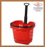 58L Plastic Supermarket Rolling Shopping Basket