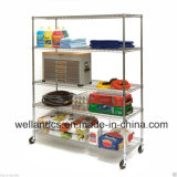 Movable Heavy Duty Chrome Supermarket Steel Display Wire Shelving with Wheels, NSF Approval