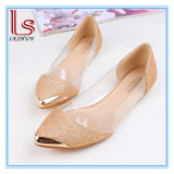 New Fashion Women Metal Pointed Bright Transparent Flat Shoes