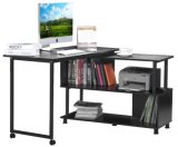 Rotatable Wooden Computer Desk Home Office Furniture L-Shaped with Wheels