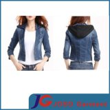 Suit Style Black Hoodies Denim Jacket for Girl (JC4077)