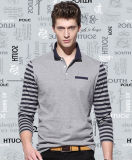 Factory Custom Long Striped Sleeves Plain Casual Men′s Polo Shirt