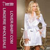 Fashion Sexy White Lace Satin Chiffon Robe Pajamas (L5092-2)