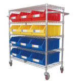 Durable Wire Shelving Trolley with Bins Unit (WST3614-003)