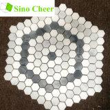Colored Hexagon Carrara Grey and White Mosaic Floor Tile