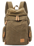 Promotion Mens Canvas and Leather Hiking Travel School Leisure Backpack Bag Yf-Bb1604