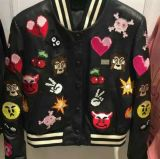 Lady′s Embroidered Suede Jacket, Fashion Clothing