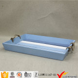 Beach Retro Painted Blue Serving Tray