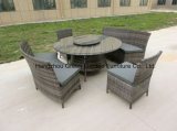 Outdoor Rattan Dining Set Dining Chair Table with Lazy Susan