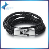 Fashion Leather Bracelet Wide Retro Black & Brown Color Chain Bracelets for Men & Women Jewelry