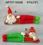 """9""""Hx19""""L Santa Snowman Doorstopper Christmas Decoration Gift-2asst."""