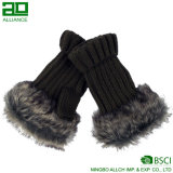 Knitted Fingerless Gloves Winter Ladies Mitten with Faux Fur