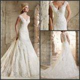 Sheer Lace Back Wedding Dresses V-Neck Custom Made Bridal Wedding Gowns G17807