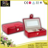 Leather Classic Red Square Storage Box with Jewelry (8003)