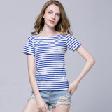 New Design Women′s Strip T-Shirt Short Sleeves for Summer OEM/ODM Factory