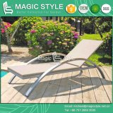 Rattan Sun Bed with Teak Arm Patio Sunlounger with Teak (Magic Style)