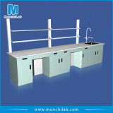 School Chemistry Lab Bench with Reagent Shelf