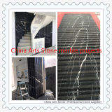 China Nero Marquina Black Marble Tiles for Rotating Steps Wall