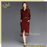 Fashion Button Design Long Sleeve Office Women Dress