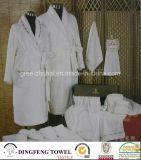 Luxury Shawl Collar White 100% Cotton Hotel Bathrobe