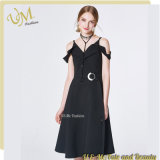 V Neck Black Button Design Boat Neckline Girl Dress of China